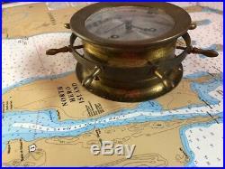 Vintage Brass August Schatz Nautical Ship's Bell Clock