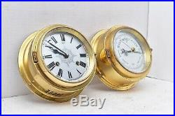 Vintage Brass Barigo Germany Ships Boat Bell Clock & Barometer Nautical Works