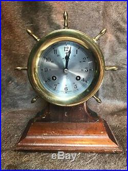 Vintage Brass Bulova Ships Bell Clock Withoriginal Key& Walnut Stand #686. Gremany