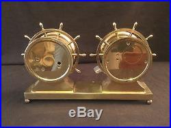Vintage! Brass Chelsea Ship's Bell Clock And Barometer On Brass Stand Engraved