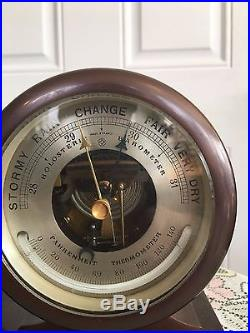 Vintage-Brass Chelsea Ships Bell Clock & Barometer withThermometer Set with Advert