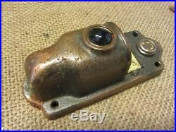 Vintage Brass Door Bell Lighted Cover w Colored Glass Lens Antique 8643