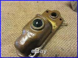 Vintage Brass Door Bell Lighted Cover w Colored Glass Lens Antique 8644