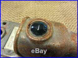 Vintage Brass Door Bell Lighted Cover w Colored Glass Lens Antique RARE! 8585