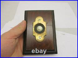 Vintage Brass Door Bell Porcelain with Wooden Surround Architectural Antique Old