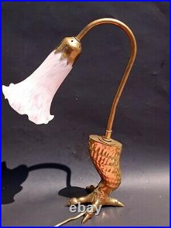Vintage Brass Eagle Claw with pink Lily glass shade Table Desk Lamp. Art deco