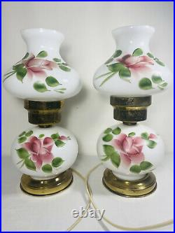 Vintage Brass Rose Porcelain Parlor Lamp Gone With The Wind GWTW Pair Working