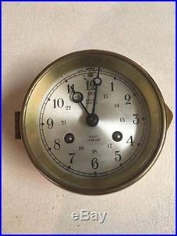 Vintage Brass Salem Ships Bell 8 Day Jeweled Clock with Key & Original Sticker