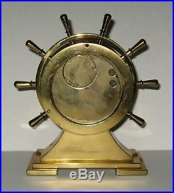 Vintage Brass Salem Ships Bell Clock 8-Day Jeweled movement