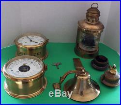 Vintage Brass Ship Stockburger Clock, Barometer, Bell, Stern Lantern, Set