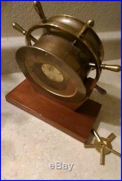 Vintage CHELSEA CLOCK Boston Brass Wood Ships Bell Chime Porthole