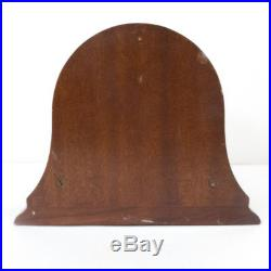 Vintage CHELSEA Ships Bell Brass Clock with Wooden Mantel Base Stand 7.25