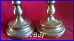 Vintage Capiz Shell Brass Table Lamps Shades Pair Boudor Bell Scallop Panel