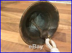 Vintage Cast Brass Royal Navy Ships Bell & Rope Maritime Marine Boat Yacht