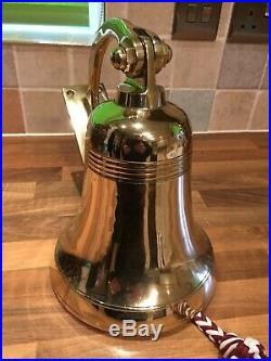 Vintage Cast Brass Ships Bell Bracket/Clapper/Rope Maritime Marine Boat Yacht