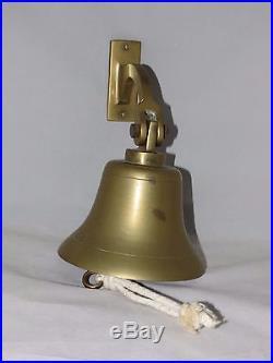 Vintage Cast Brass Ships Bell Bracket/Clapper/Rope Nautical Maritime Marine Boat