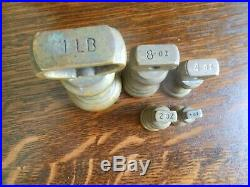 Vintage Cast Iron Balance Kitchen Scales With Brass Bell Weights From England