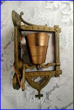 Vintage Cast Iron Wall Mount Bell withCross Dinner, School, Barn Pull String
