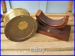 Vintage Chelsea 4.5'' Ships Bell Brass Clock with Wood Desk Stand Executive Gift