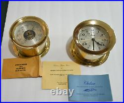 Vintage Chelsea Boston Ships Bell Clock And Barometer With Accessories