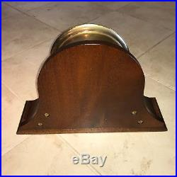 Vintage Chelsea Brass Ships Bell Clock 7 1/4 with Mahogany Stand
