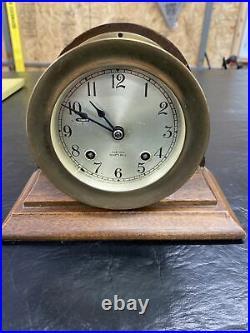 Vintage Chelsea Ship's Bell Brass Maritime Bulkhead Clock