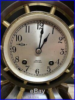 Vintage Chelsea Ships Bell Brass/Bronze Mantel Clock