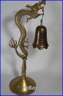 Vintage Chinese Asian Brass Bronze Ornate Dragon Statue Gong Bell on Stand 19