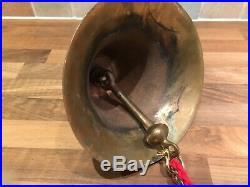 Vintage E J Willis US Navy Cast Brass Ships Bell Bracket & Rope Maritime Marine