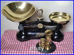 Vintage English Boots Cash Chemists Kitchen Scales 7 Brass Bell Weights On Stand