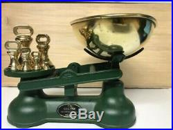 Vintage English Kitchen Cast Iron Scale And Brass Bell Weights