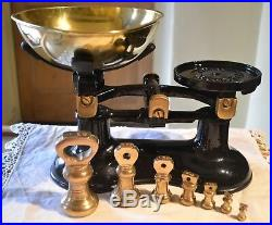 Vintage English Kitchen Scales Black Boots 7 Brass Bell Weights