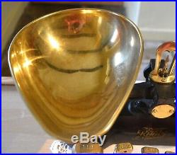 Vintage English Kitchen Scales Black Boots Cash Chemists 7 Brass Bell Weights