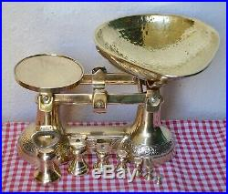 Vintage English Solid Brass Ornate Kitchen Scales & 7 Brass Bell Weights