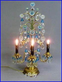 Vintage French Brass Bronze Crystal Candelabra Lamp Celeste Blue Bell Chandelier