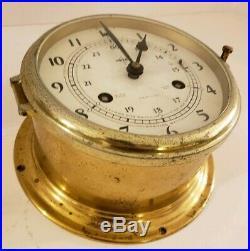 Vintage German Brass Maritime Ship's Bell Porthole Clock Swift & Anderson Inc