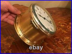 Vintage German Schatz Ocean Quartz 1881 Brass Maritime Ships Bell Clock