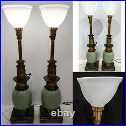Vintage Matching Pair Torchiere Table Lamps Solid Brass Ceramic Milk Glass Shade