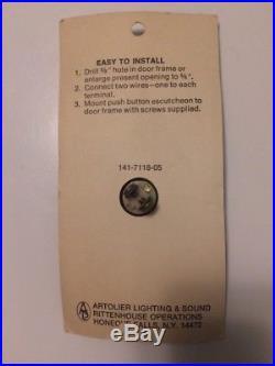 Vintage Mid Century BRASS STARBURST DOOR BELL White Push Button Electric NOS