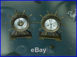 Vintage Nautical Salem Ship's Bell Brass 8-Day Clock & Matching Wheel Barometer
