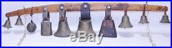Vintage Oak Wooden Wood and Brass Country Store Door Christmas Cow Bell Doorbell