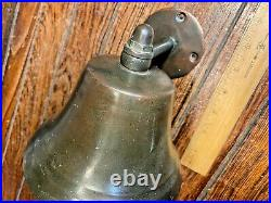 Vintage Old 6 Bronze/brass Bell With Wall Mount, Nice Age/patina