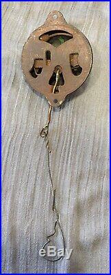 Vintage Pull Chain Door Bell Brass & Cast Iron 1800s Eastlake Victorian WORKS