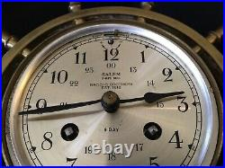 Vintage SALEM BROOKS BROTHERS SHIPS BELL BRASS CLOCK WITH CHIMES 8 Day