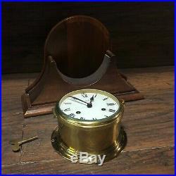 Vintage SCHATZ BRASS SHIPS BELL CLOCK w Wood Mantle Holder & Key / 8 day