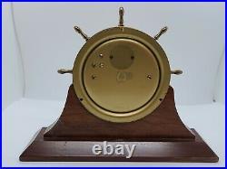 Vintage SCHATZ'Ships Bell' Marine Maritime Brass Ship Wheel Desk Clock withStand