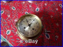 Vintage Salem Neptune Brass Ship Bell Clock Time Strike 8 Day German With Key