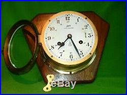 Vintage Schatz Royal Mariner Brass 8 Day Ship Bell Chime Clock with Key Working