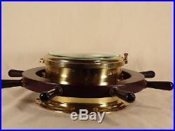 Vintage Schatz Royal Mariner Full Sized Ship's Bell Wheel 8 Day Brass Clock