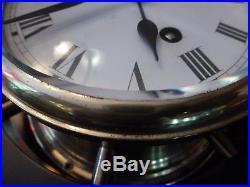 Vintage Schatz Royal Mariner Full Sized Ships Bell Wheel 8 Day Brass Clock